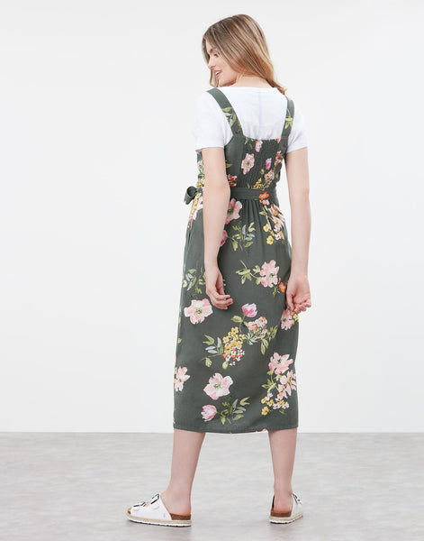 Kimia Button Through Strap Woven Dress With Waist Tie in Green Floral