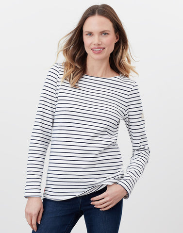 Harbour Long Sleeved Top in Cream Navy Striped