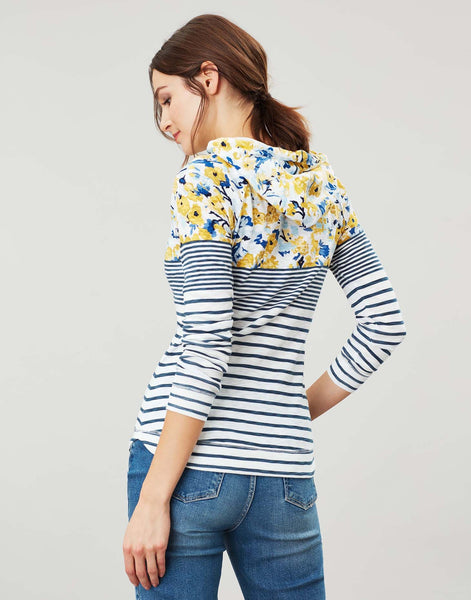 Joules Marlston hooded sweatshirt - Cream blue floral