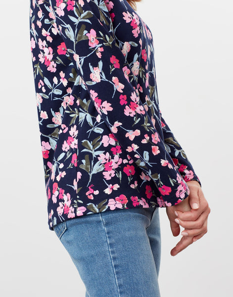 Harbour Print Navy Floral Long Sleeve Jersey Top
