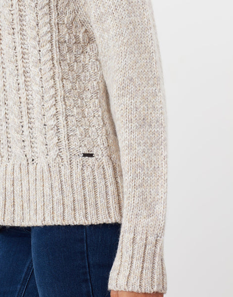 Carmella Oat Knitted Cable Jumper