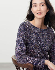 Harbour Print Navy Speckle Long Sleeve Jersey Top