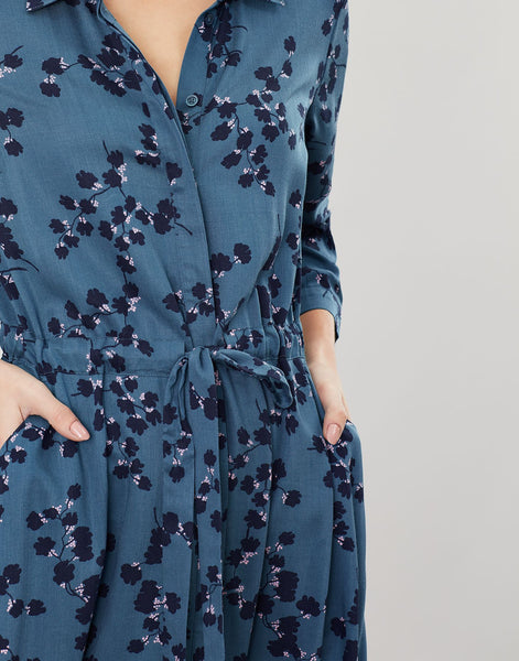 Joules Winslet long sleeve dress - Teal blossom