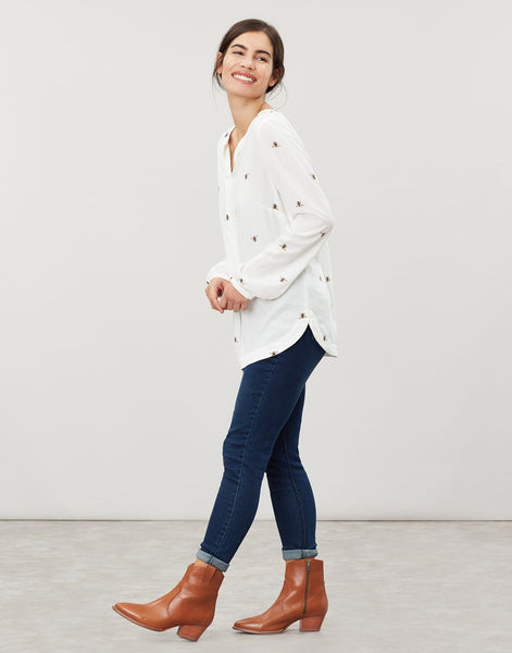 Joules Rosamund v-neck woven top - Cream bee