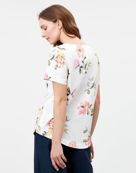 Dina Linen Shell Top in Cream Floral