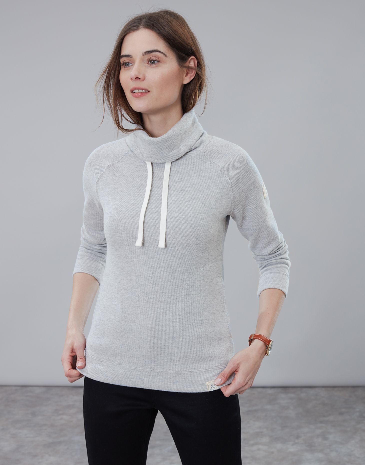 Joules Nadia ribbed sweatshirt - Grey marl