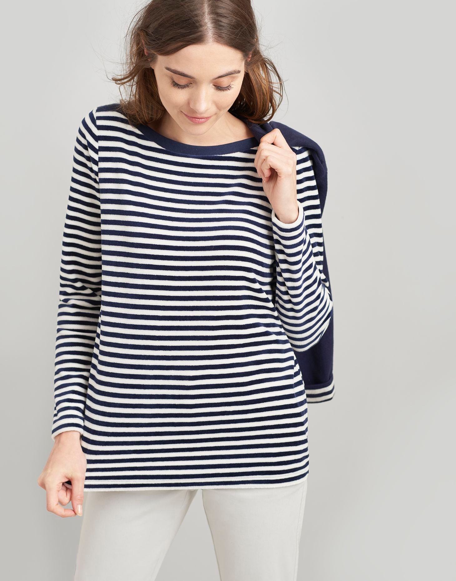 Joules Esme Velour Jersey Top - Navy