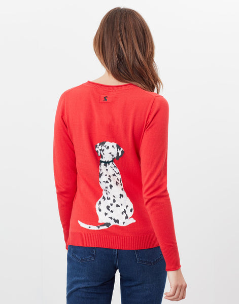 Miranda Knitted Dalmatian Crew Neck Jumper Red