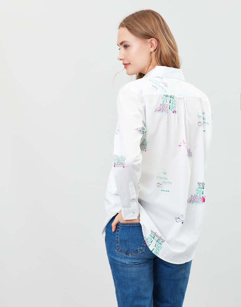Joules Amilla Dropped shoulder shirt - White garden