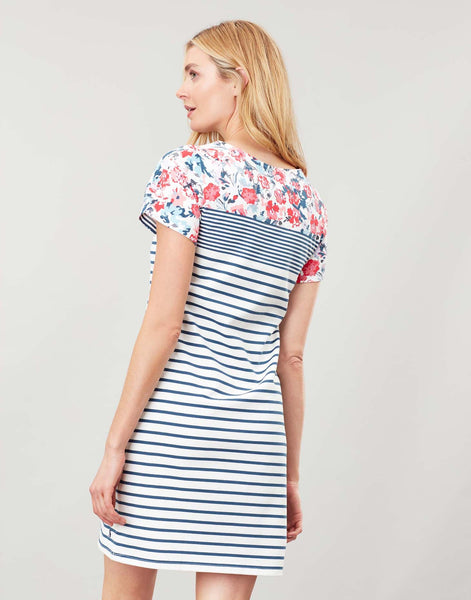 Joules Riviera Print Dress - Cream border floral
