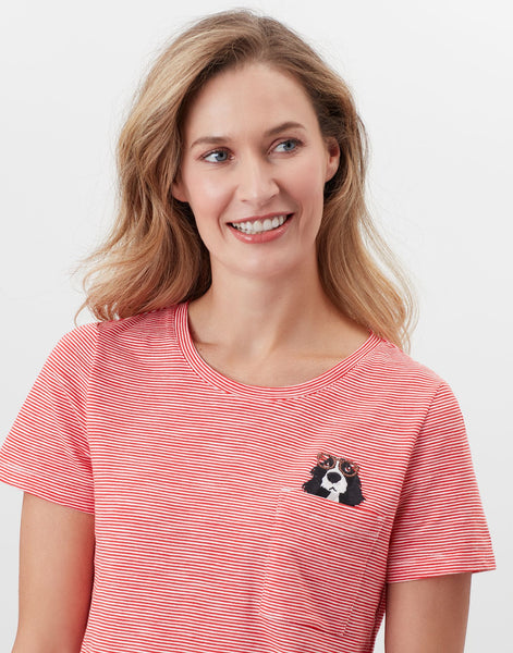Carley Print Classic Crew T-Shirt with Spaniel Pocket