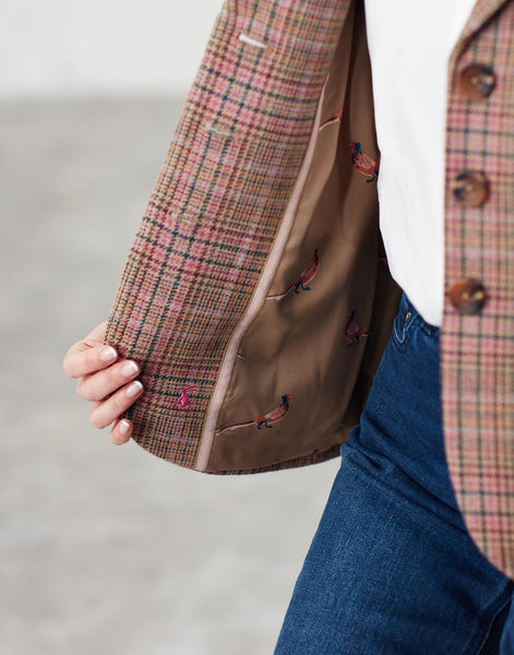 Highcome Pink Tweed Single Breasted Tweed Jacket