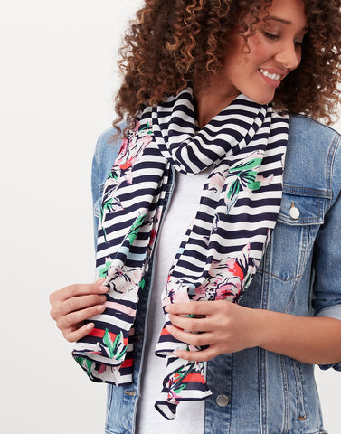 Conway Printed Scarf in Blue Stripe Floral