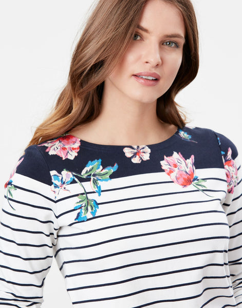 Harbour Print Floral Border Stripe Long Sleeve Jersey Top