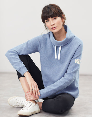 Nadia Blue Marl / Poppy Ribbed Sweatshirt