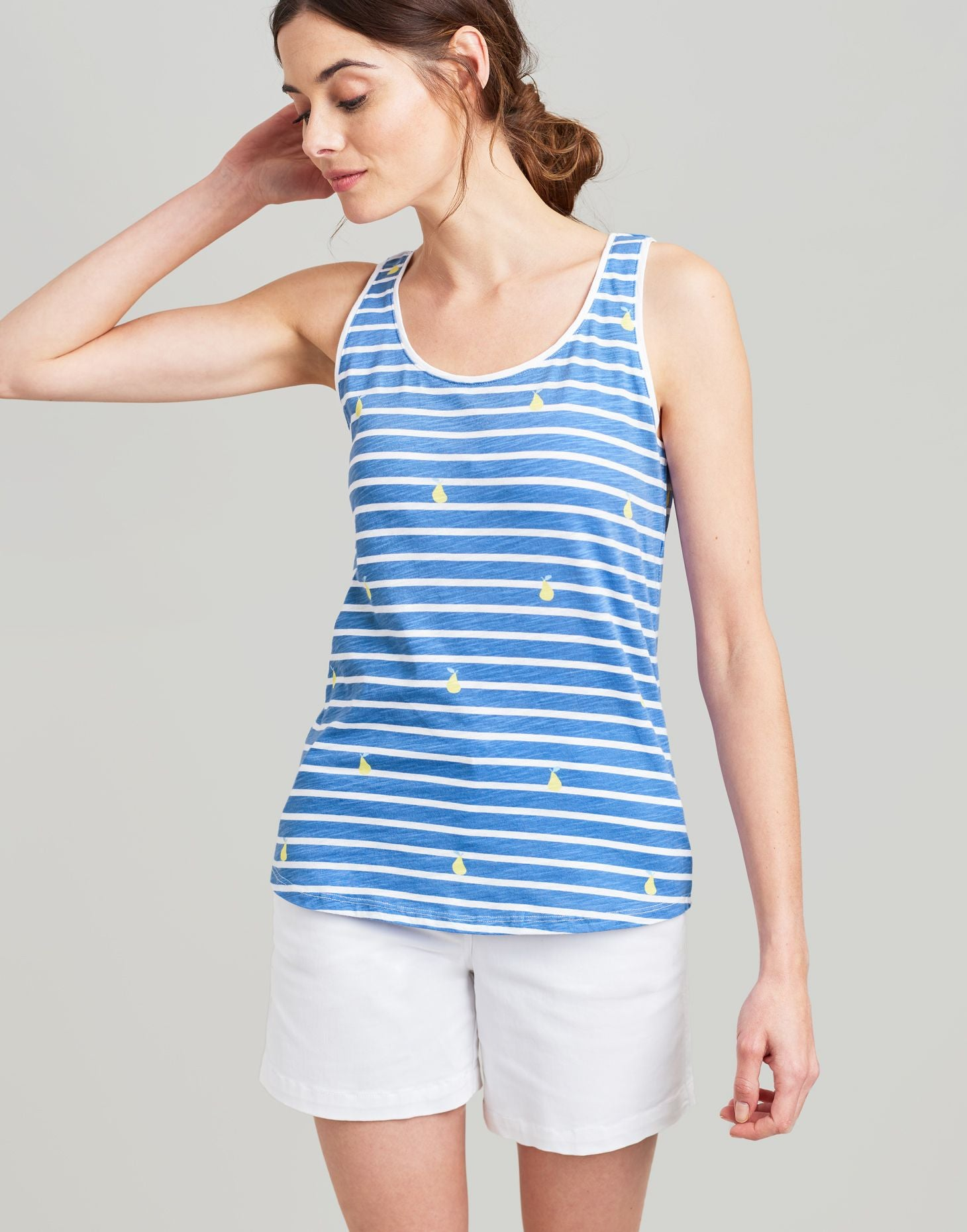 Joules Bo Print Blue Stripe vest with Pear