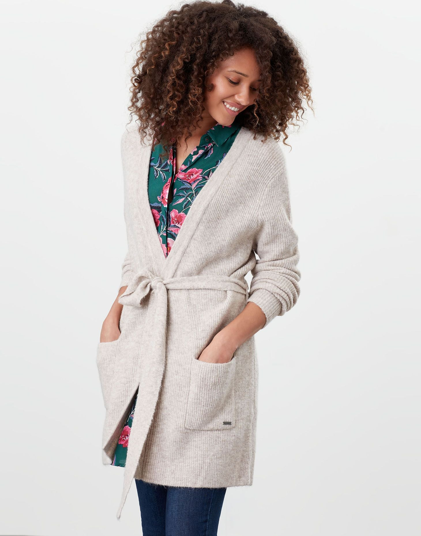 Alba Oat Knitted Cardigan with Belt