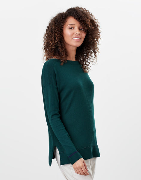 Vivianna Dark Green Slash Neck Jumper