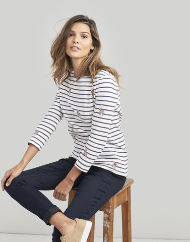 Joules Harbour print top - Cream dog stripe