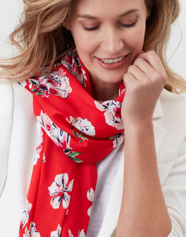 Conway Printed Scarf In Red Floral