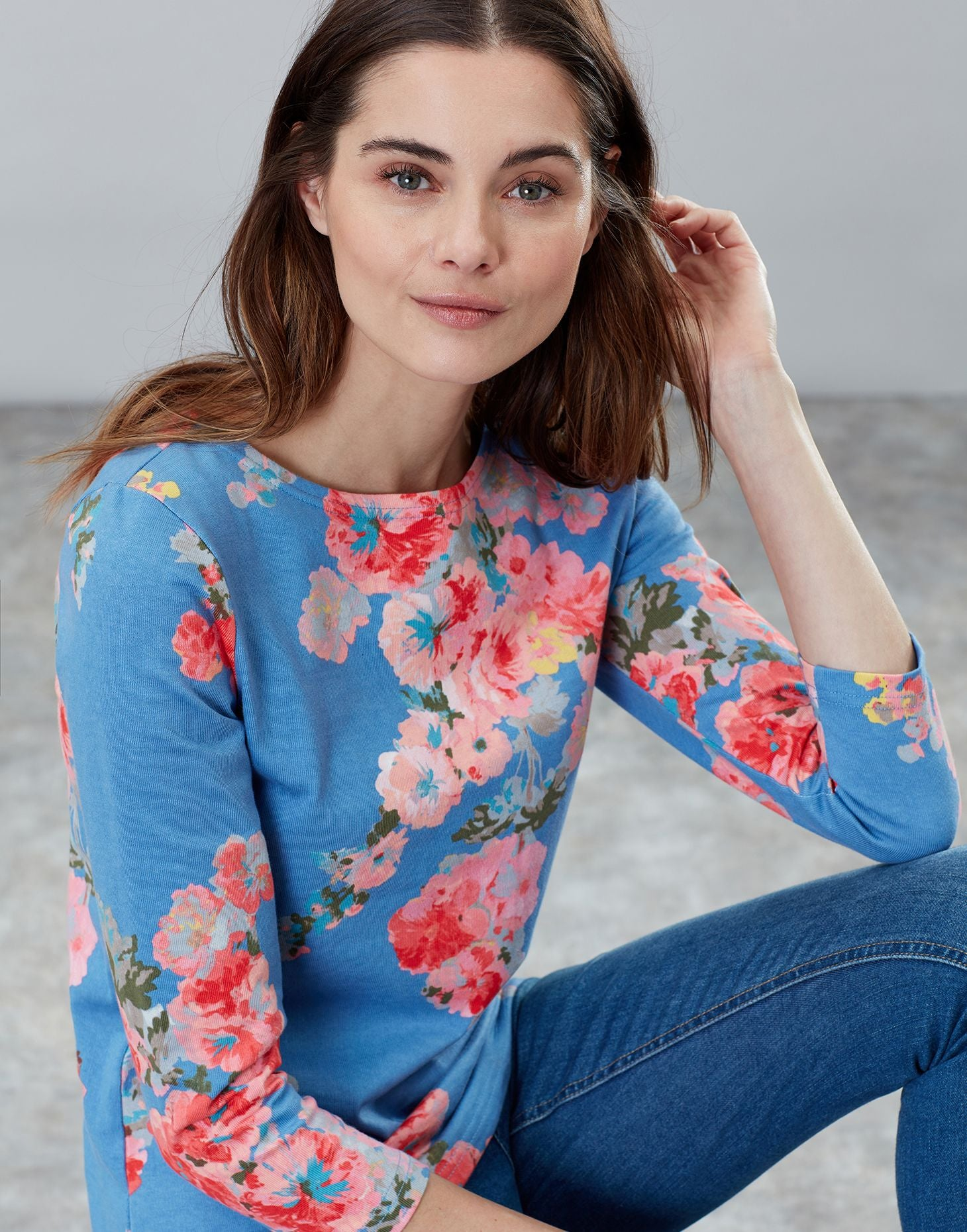 Joules Harbour Jersey Top - Blue Floral Print