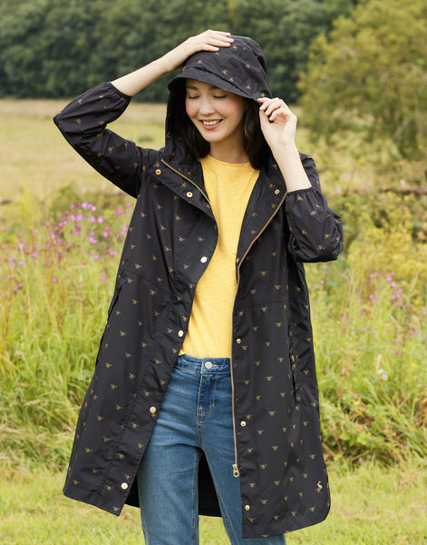Waybridge Black Yellow Bees Relaxed Fit Waterproof Raincoat