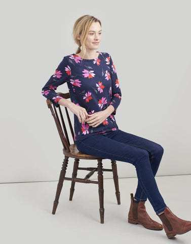 Harbour Print Navy Floral Jersey Top