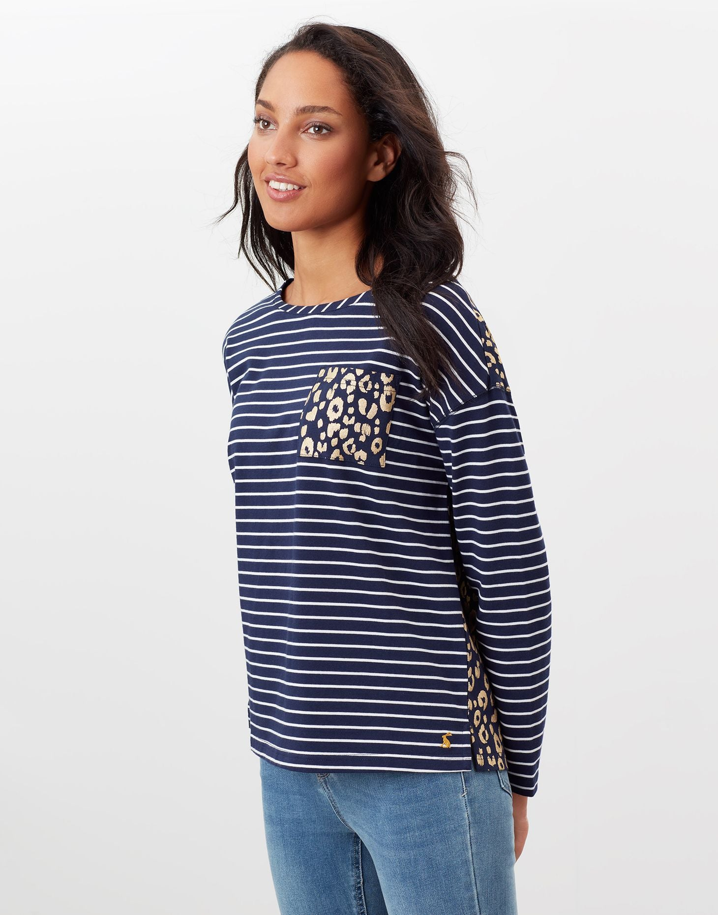 Marina Print Cream Navy Stripe Dropped Shoulder Jersey Top