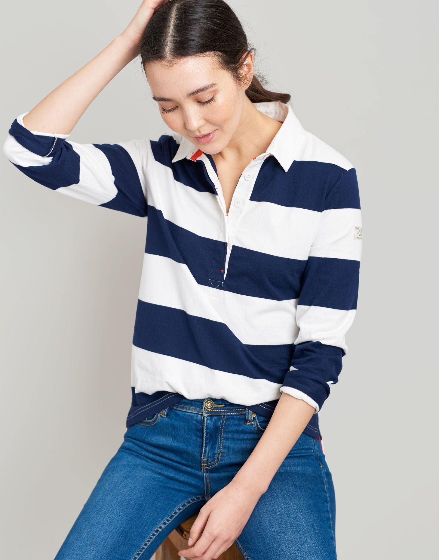 Joules Amber rugby shirt - Cream Navy Stripe