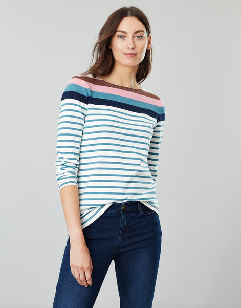 Joules Harbour top - Cream Pink Blue Stripe