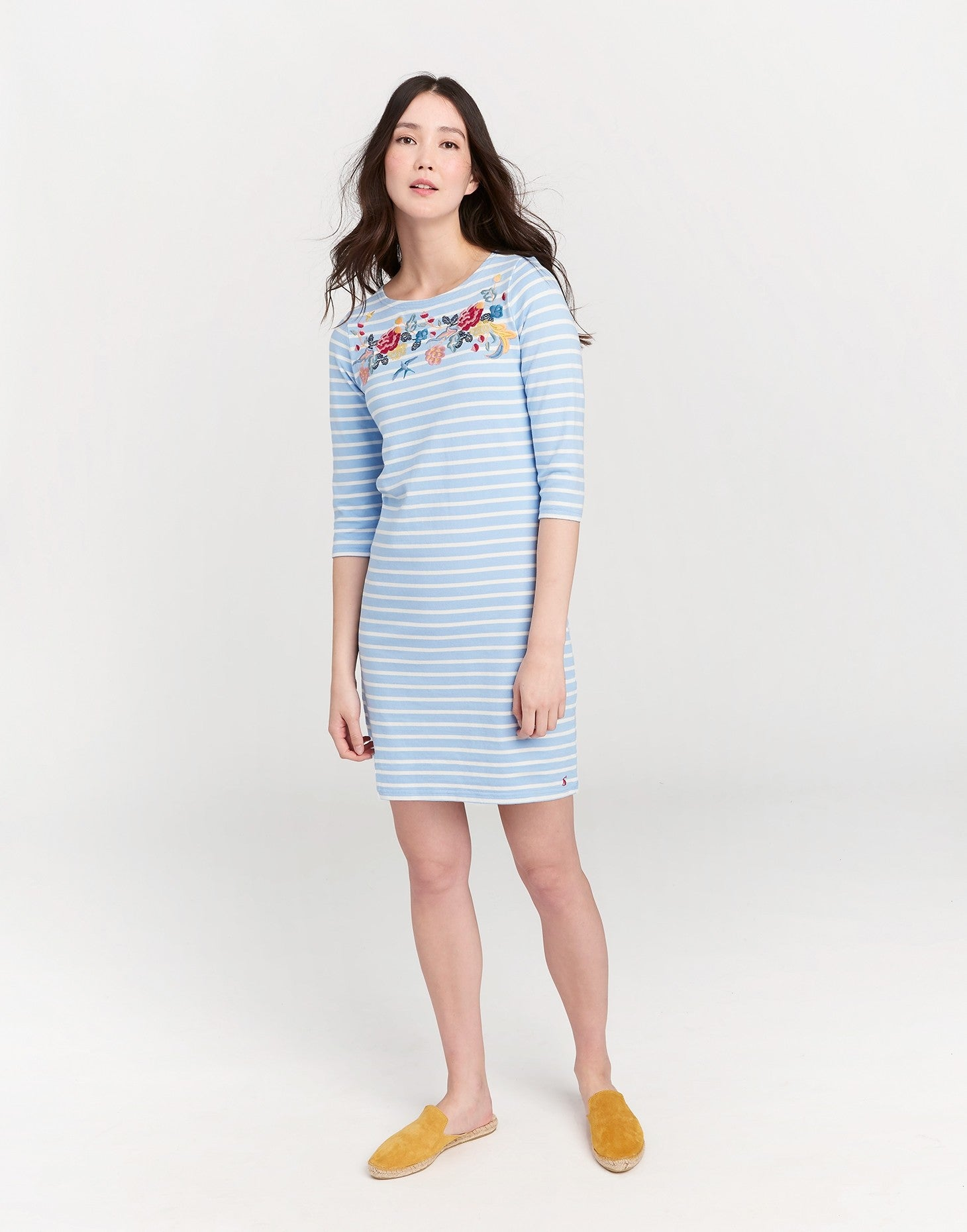 Joules striped embroidered  3/4 sleeve dress