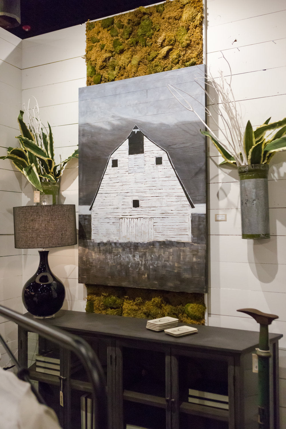 White barn painted in canvas wall art