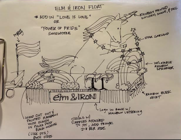 2019 elm & IRON Pride float blue print