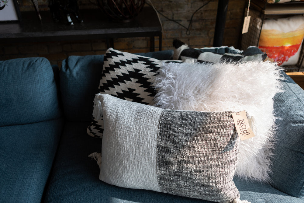 Dark and light throw pillows