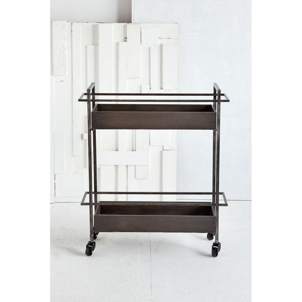 Masataka Metal Frame Two Tier Bar Cart