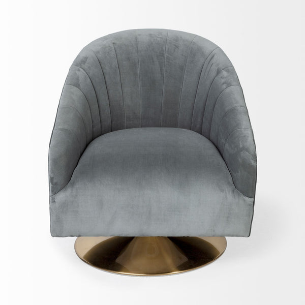 James Gray Blue Velvet Swivel Chair