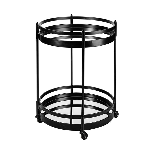 Ada Round Black Metal Frame Two Tier Bar Cart