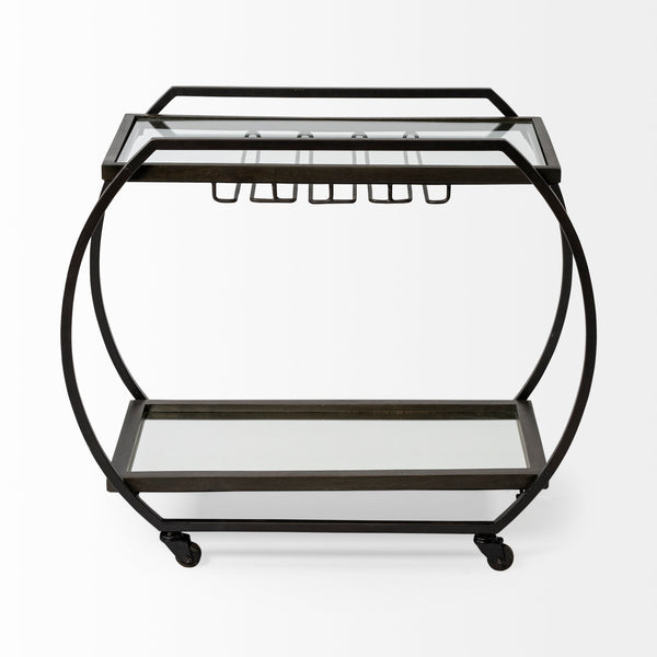 Chriselle Black Metal Frame Two Tier Bar Cart