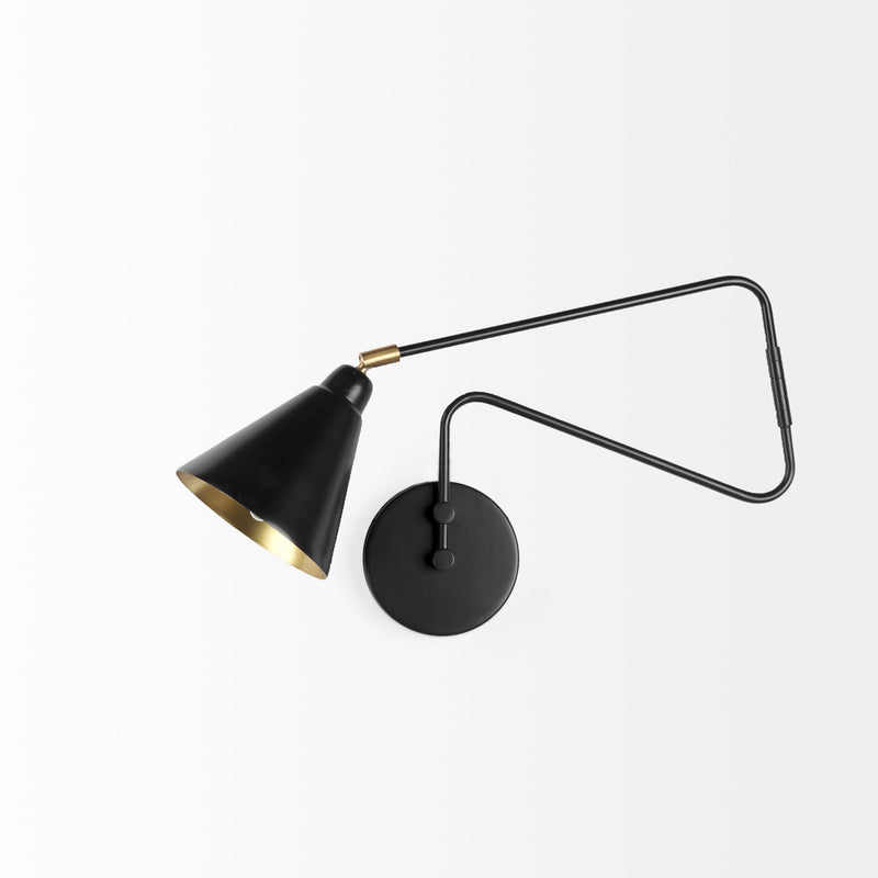 Cobalt Black Metal Swivel Wall Sconce