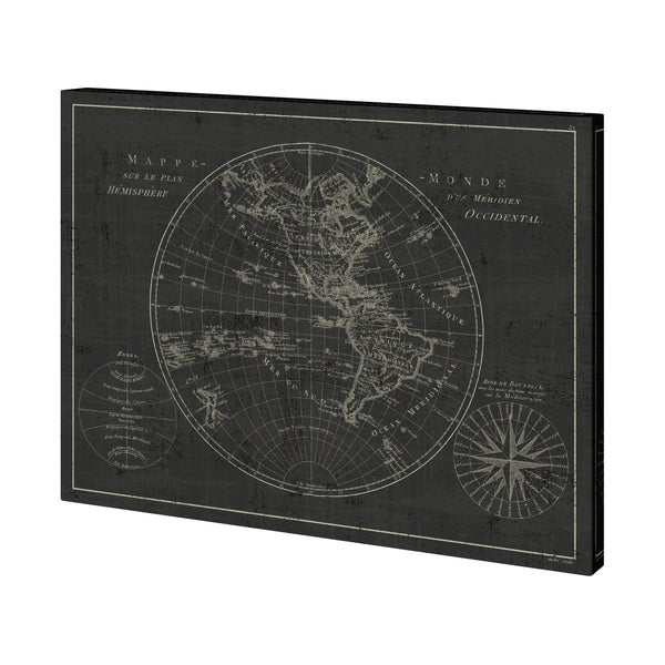 Mappemonde Etching V2 Canvas
