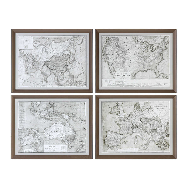 Framed World Maps (Set of Four)