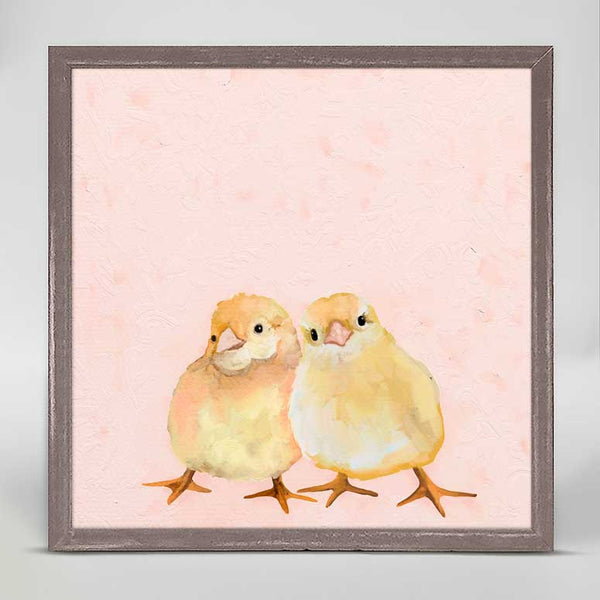 Two Chicks On Pink Mini Canvas