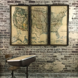 1923 USA Dept Of Interior Map Triptych