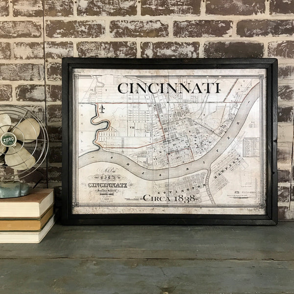 Cincinnati Map - Framed Canvas