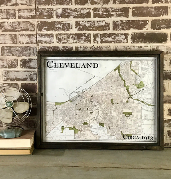 1913 Cleveland Framed Map
