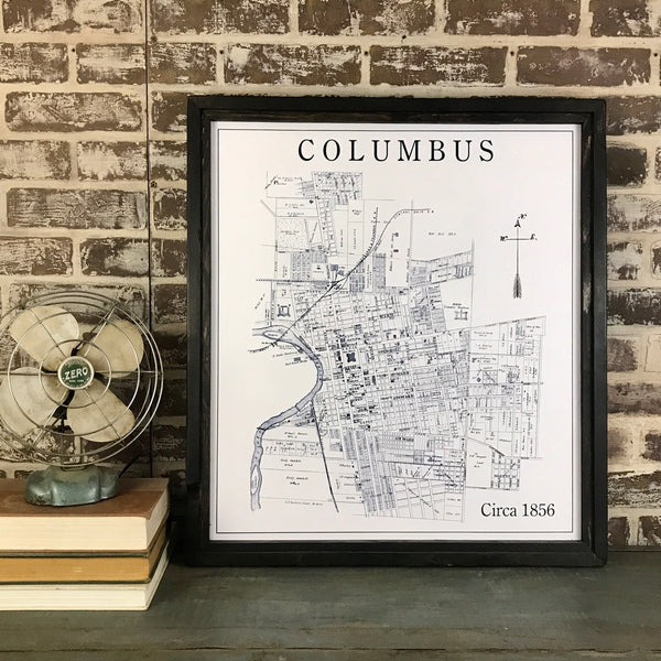 1856 Columbus Framed Canvas Map