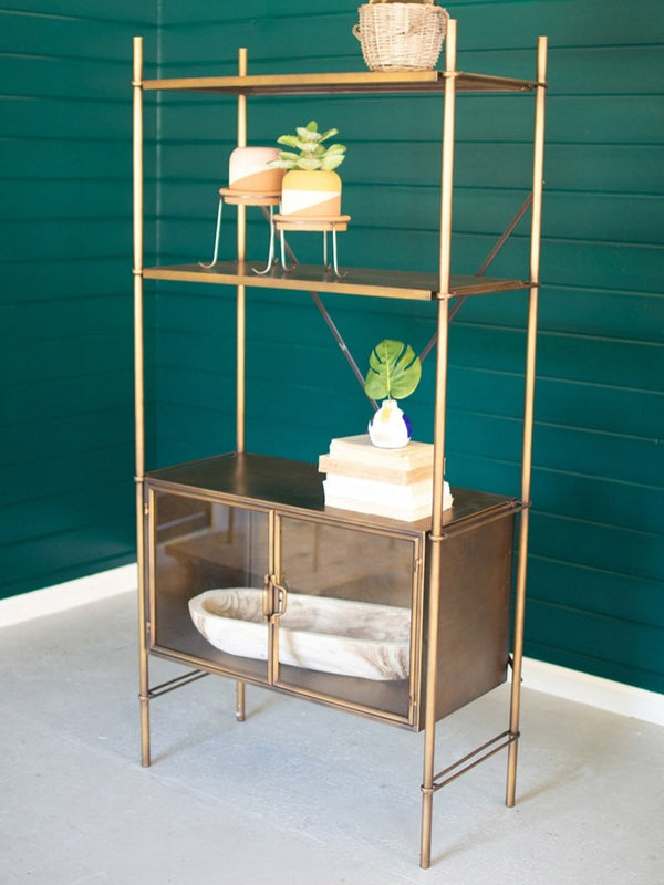 Brass Framed Shelf with Doors