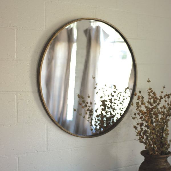 Round Antique Brass Mirror