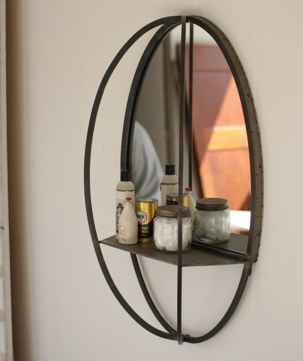 Oval Mirror w/ Wall Shelf