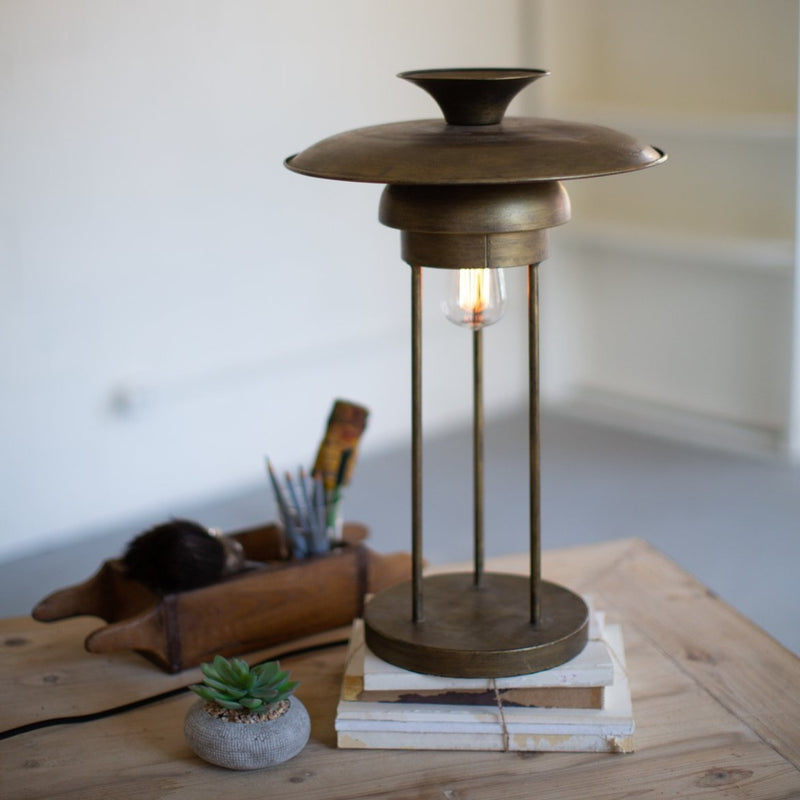 METAL TABLE LAMP W/DOME SHADE